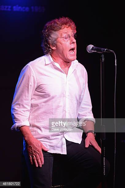 Roger Daltrey of The Who performs onstage as he attends The 50th Anniversary Photocall of The Who at Ronnie Scott's on June 30 2014 in London England