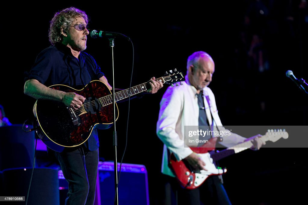 Roger Daltry and Pete Townshend of The Who performs on the Pyramid Stage at the Glastonbury Festival at Worthy Farm Pilton on June 28 2015 in...