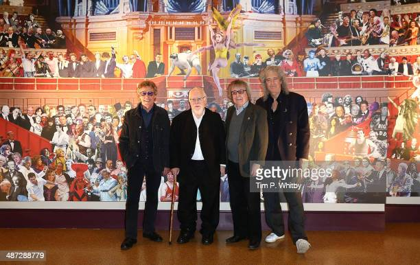 Roger Daltry Sir Peter Blake Bill Wyman and Brian May attend the unveiling of Sir Peter Blake's new mural at the Royal Albert Hall on April 29 2014...