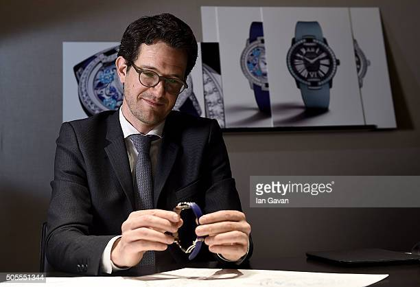 Roger Dubuis Product Designer Lionel Favre at the Roger Dubuis stand during the SIHH 2016 on January 18 2016 in Geneva Switzerland