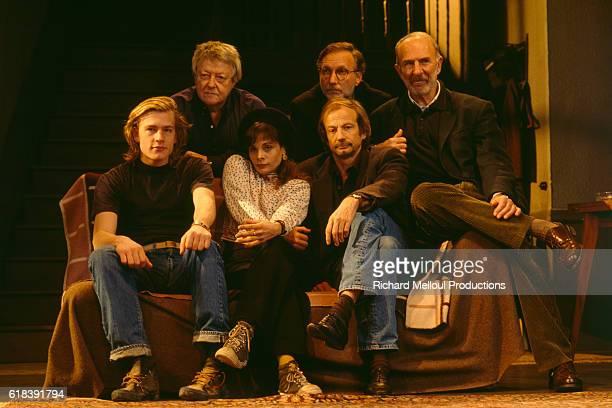 Roger Dumas Francois Berleand and JeanPierre Marielle Guillaume Depardieu Marie Trintignant and Patrick Chenais performing Le Retour by Harold Pinter...