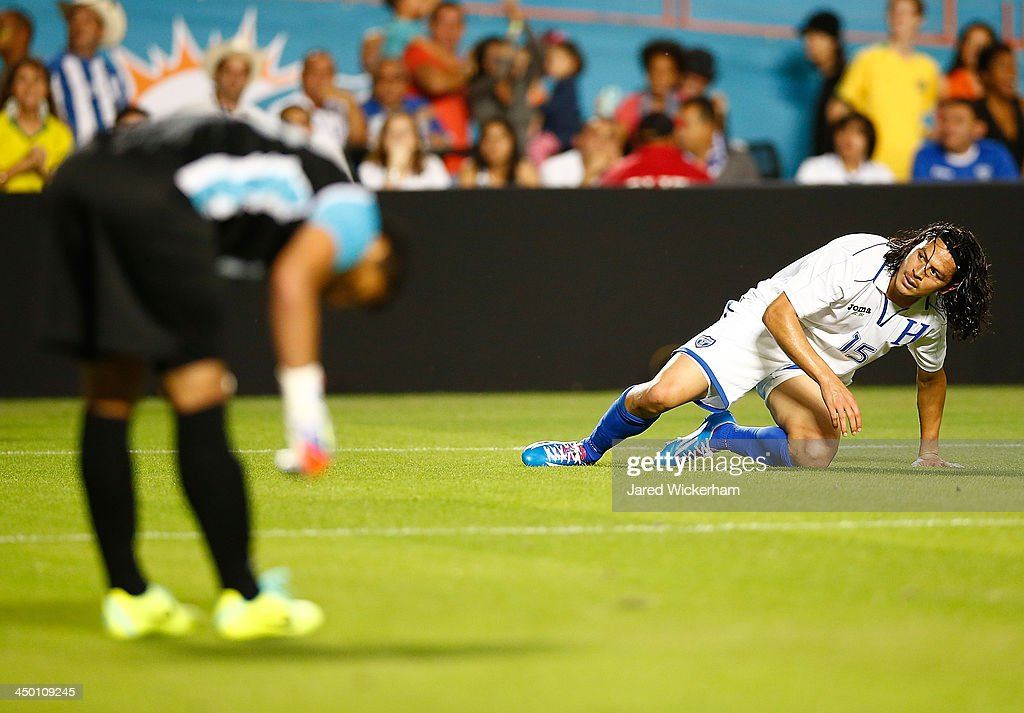 <a gi-track='captionPersonalityLinkClicked' href=/galleries/search?phrase=Roger+Espinoza&family=editorial&specificpeople=4824201 ng-click='$event.stopPropagation()'>Roger Espinoza</a> #15 of Honduras reacts after being scored on in the first half against Brazil during a friendly match at Sun Life Stadium on November 16, 2013 in Miami Gardens, Florida.
