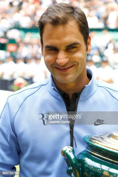 Roger Federer after the men's singles match Roger Federer of Suiss against Alexander Zverev of Germany on Day 9 of the Gerry Weber Open 2017 at Gerry...