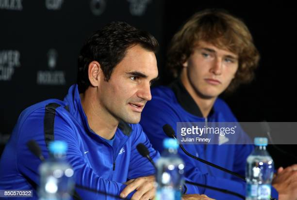 Roger Federer and Alexander Zverev of Team Europe attend a press conference during previews ahead of the Laver Cup on September 21 2017 in Prague...