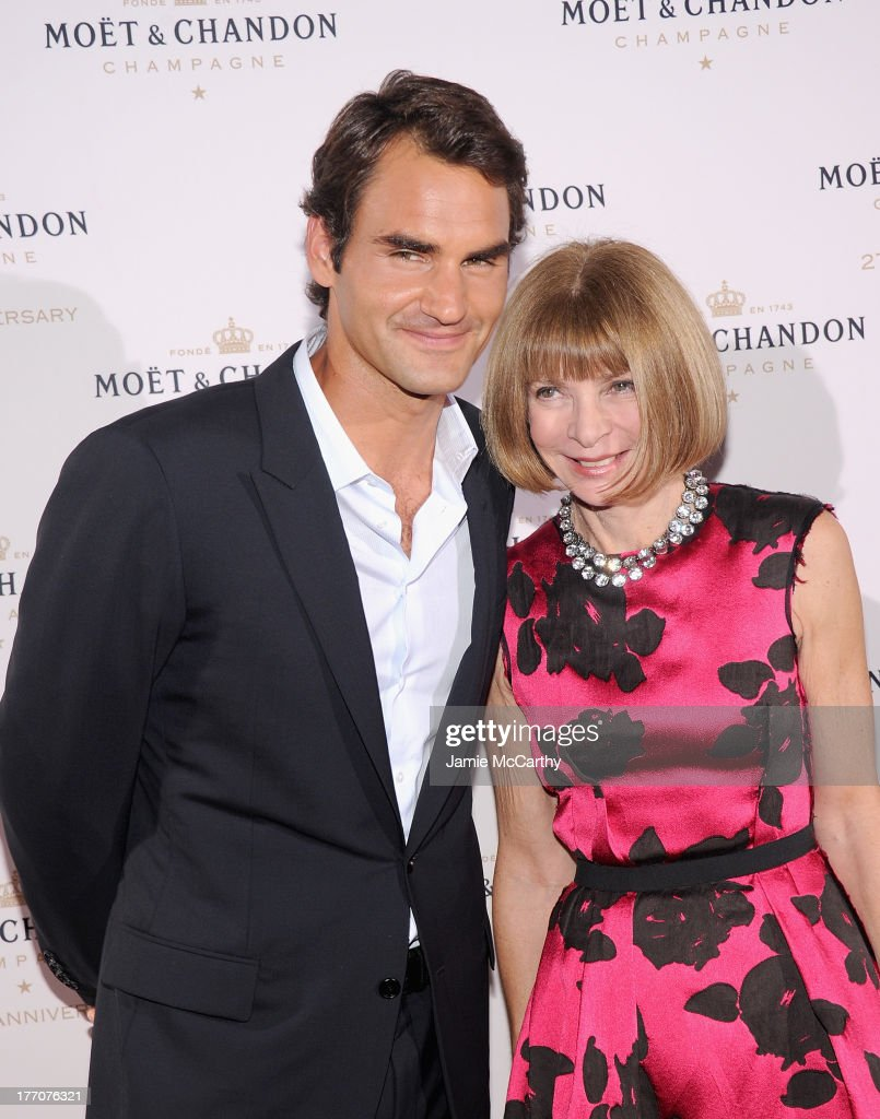 <a gi-track='captionPersonalityLinkClicked' href=/galleries/search?phrase=Roger+Federer&family=editorial&specificpeople=157480 ng-click='$event.stopPropagation()'>Roger Federer</a> and <a gi-track='captionPersonalityLinkClicked' href=/galleries/search?phrase=Anna+Wintour&family=editorial&specificpeople=202210 ng-click='$event.stopPropagation()'>Anna Wintour</a> attend the Moet & Chandon 270th Anniversary at Pier 59 Studios on August 20, 2013 in New York City.