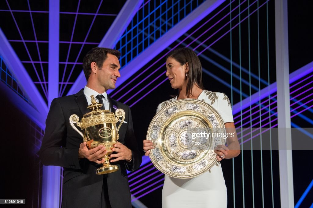 Roger Federer and Garbine Muguruza attend the Wimbledon Winners Dinner at The Guildhall on July 16, 2017 in London, England.