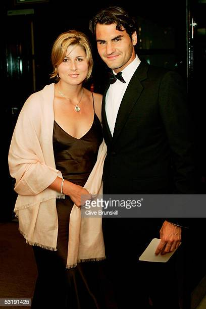 Roger Federer and girlfriend Miroslava Vavrinec arrive at the Wimbledon Winners Dinner on July 3 2005 at the Savoy Hotel in London