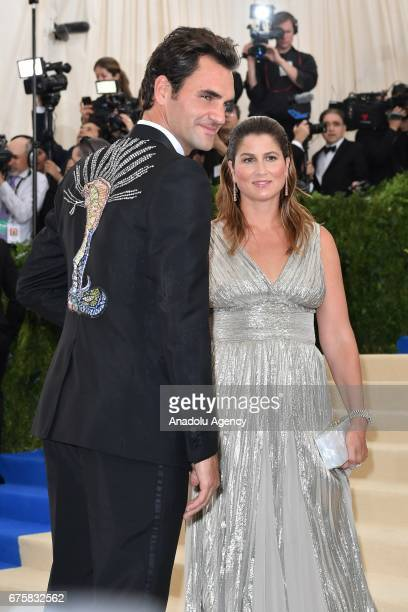 Roger Federer and his wife Mika attend the 'Rei Kawakubo / Comme des Garcons Art Of The InBetween' Costume Institute Gala 2017 at Metropolitan Museum...