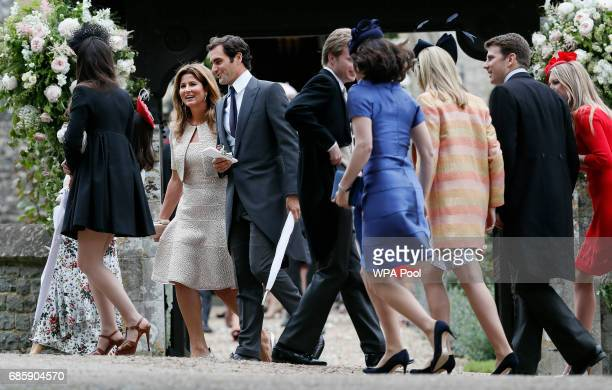 Roger Federer and his wife Mirka leave after the wedding of Pippa Middleton and James Matthews at St Mark's Church onMay 20 2017 in Englefield...