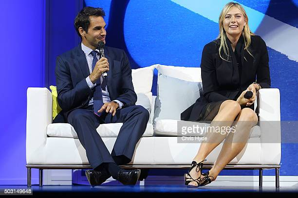 Roger Federer and Maria Sharapova talk onstage during the Summer Nights player party at Brisbane City Hall ahead of the 2016 Brisbane International...