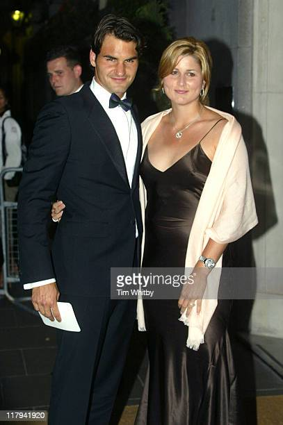 Roger Federer and Mirka Vavrinec during 2005 Wimbledon Championships Champions Dinner at The Savoy Hotel in London Great Britain