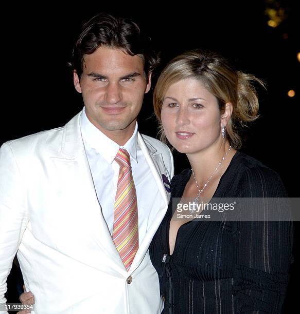 Roger Federer and Miroslava 'Mirka' Vavrinec during Wimbledon Champions Dinner July 9 2006 at The Savoy in London Great Britain