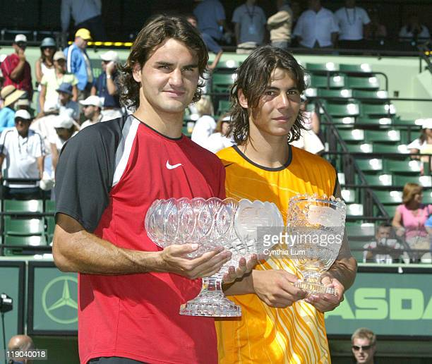 Roger Federer and Rafael Nadal after Federer defeated Nadal 26 67 76 63 61 in the final of the Nasdaq100 Open at Key Biscayne FL