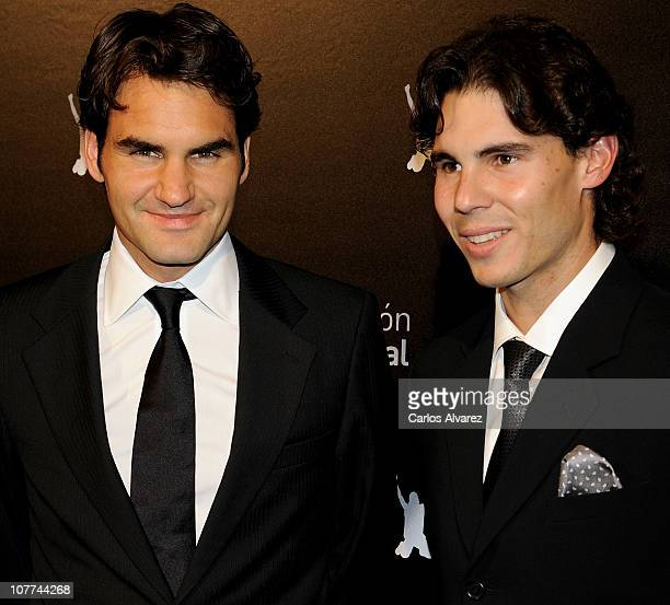 Roger Federer and Rafael Nadal attend 'Rafa Nadal Foundation' Charity Gala at Cibeles Palace on December 22 2010 in Madrid Spain