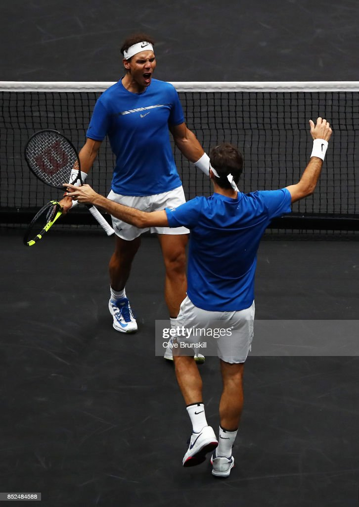 Roger Federer and Rafael Nadal of Team Europe celebrate winning match point during there doubles match against Jack Sock and Sam Querrey of Team World on Day 2 of the Laver Cup on September 23, 2017 in Prague, Czech Republic. The Laver Cup consists of six European players competing against their counterparts from the rest of the World. Europe will be captained by Bjorn Borg and John McEnroe will captain the Rest of the World team. The event runs from 22-24 September.