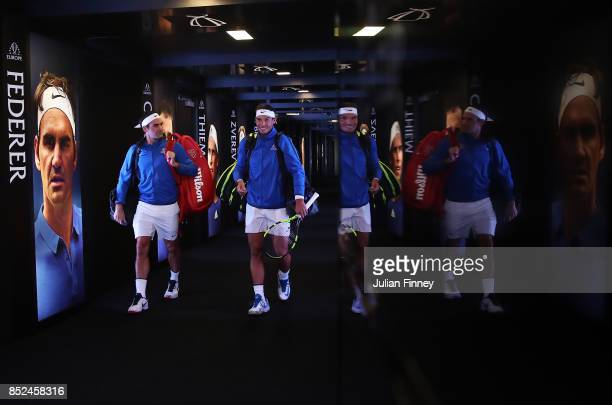 Roger Federer and Rafael Nadal of Team Europe enter the arena for there doubles match against Jack Sock and Sam Querrey of Team World on Day 2 of the...