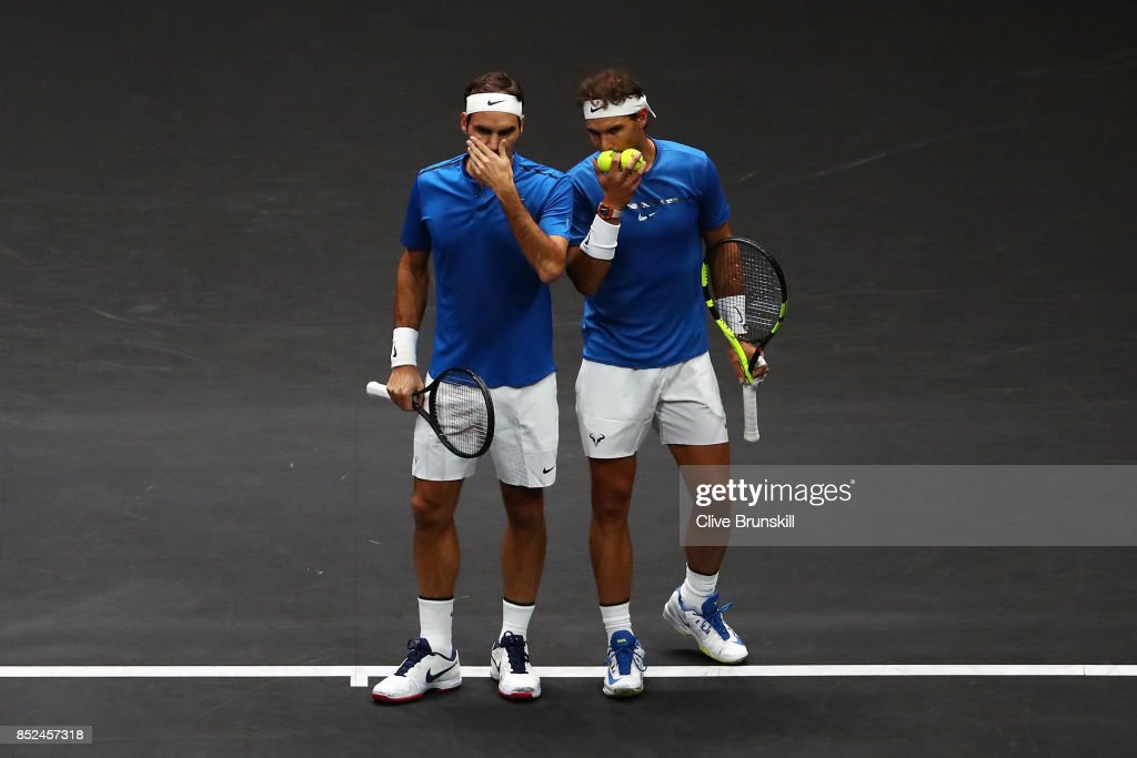 Roger Federer and Rafael Nadal of Team Europe react during there doubles match against Jack Sock and Sam Querrey of Team World on Day 2 of the Laver Cup on September 23, 2017 in Prague, Czech Republic. The Laver Cup consists of six European players competing against their counterparts from the rest of the World. Europe will be captained by Bjorn Borg and John McEnroe will captain the Rest of the World team. The event runs from 22-24 September.