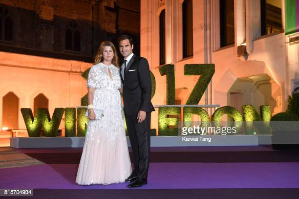Roger Federer and wife Mirka attend the Wimbledon Winners Dinner at The Guildhall on July 16 2017 in London England