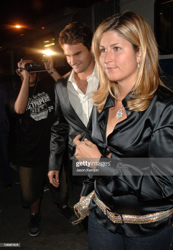 Roger Federer and wife, Mirka Vavrinec during Olympus Fashion Week Spring 2007 - Marc Jacobs - Arrivals at New York State Armory in New York City, New York, United States.