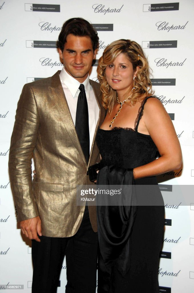 Roger Federer and wife, Mirka Vavrinec during The 8th Annual White Tie and Tiara Ball to Benefit the Elton John AIDS Foundation in Association with Chopard - Arrivals in Windsor, United Kingdom.