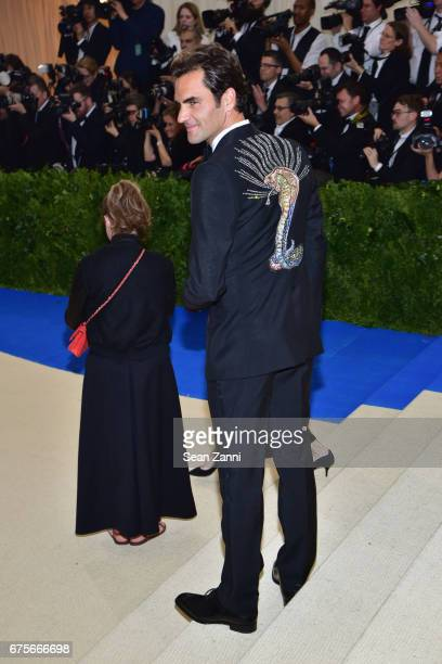 Roger Federer arrives at 'Rei Kawakubo/Comme des Garcons Art Of The InBetween' Costume Institute Gala at The Metropolitan Museum on May 1 2017 in New...