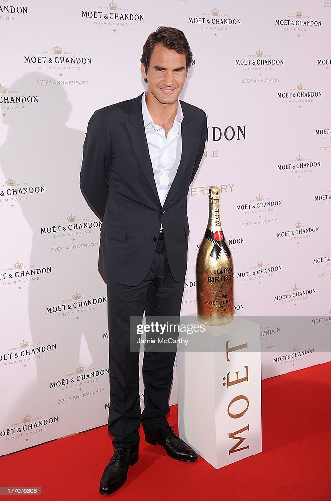 <a gi-track='captionPersonalityLinkClicked' href=/galleries/search?phrase=Roger+Federer&family=editorial&specificpeople=157480 ng-click='$event.stopPropagation()'>Roger Federer</a> attends the Moet & Chandon 270th Anniversary at Pier 59 Studios on August 20, 2013 in New York City.