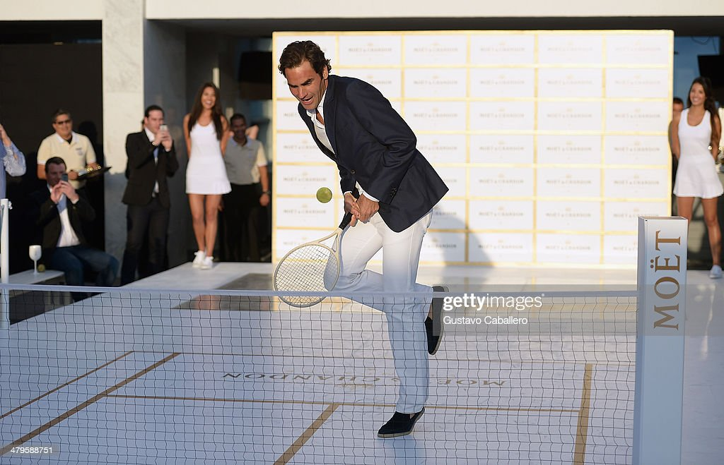 <a gi-track='captionPersonalityLinkClicked' href=/galleries/search?phrase=Roger+Federer&family=editorial&specificpeople=157480 ng-click='$event.stopPropagation()'>Roger Federer</a> attends the Moet & Chandon 'Tiny Tennis' With <a gi-track='captionPersonalityLinkClicked' href=/galleries/search?phrase=Roger+Federer&family=editorial&specificpeople=157480 ng-click='$event.stopPropagation()'>Roger Federer</a> at Club 50 at Viceroy Miami on March 19, 2014 in Miami, Florida.