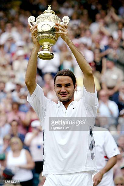 Roger Federer becomes the 2003 Wimbledon Men's singles Champion after beating Mark Philippoussis 76 62 76