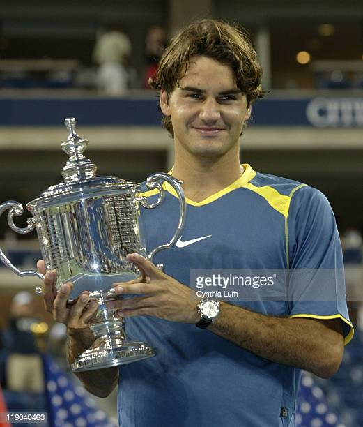 Roger Federer claims US Open Title defeating Andre Agassi in the final 63 26 76 9 61 at Arthur Ashe Stadium in Flushing New York on September 11 2005