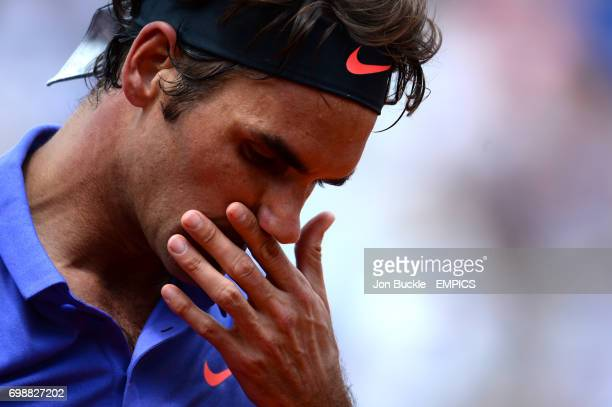 Roger Federer during his Second round men's singles match against Marcel Granollers on day four of the French Open at Roland Garros on May 27 2015 in...