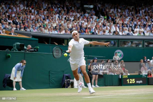 Roger Federer during his victory in the men's singles final v Marin Cilic on Centre Court on day thirteen of the 2017 Wimbledon tennis championships...