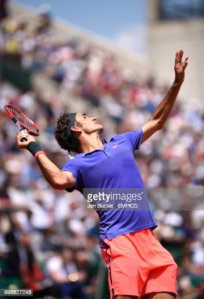 Roger Federer in action during his Second round men's singles match against Marcel Granollers on day four of the French Open at Roland Garros on May...