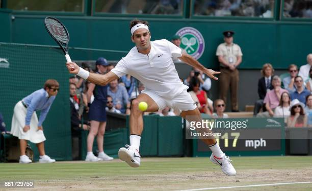Roger Federer in the men's singles final v Marin Cilic on Centre Court on day thirteen of the 2017 Wimbledon tennis championships at the All England...