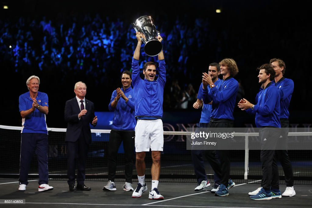 Roger Federer lifts the laver cup trophy with Marin Cilic, Bjorn Borg, Rafael Nadal, Alexander Zverev, Dominic Thiem, Rod Laver and Tomas Berdych of Team Europe on the final day of the Laver cup on September 24, 2017 in Prague, Czech Republic. The Laver Cup consists of six European players competing against their counterparts from the rest of the World. Europe will be captained by Bjorn Borg and John McEnroe will captain the Rest of the World team. The event runs from 22-24 September.