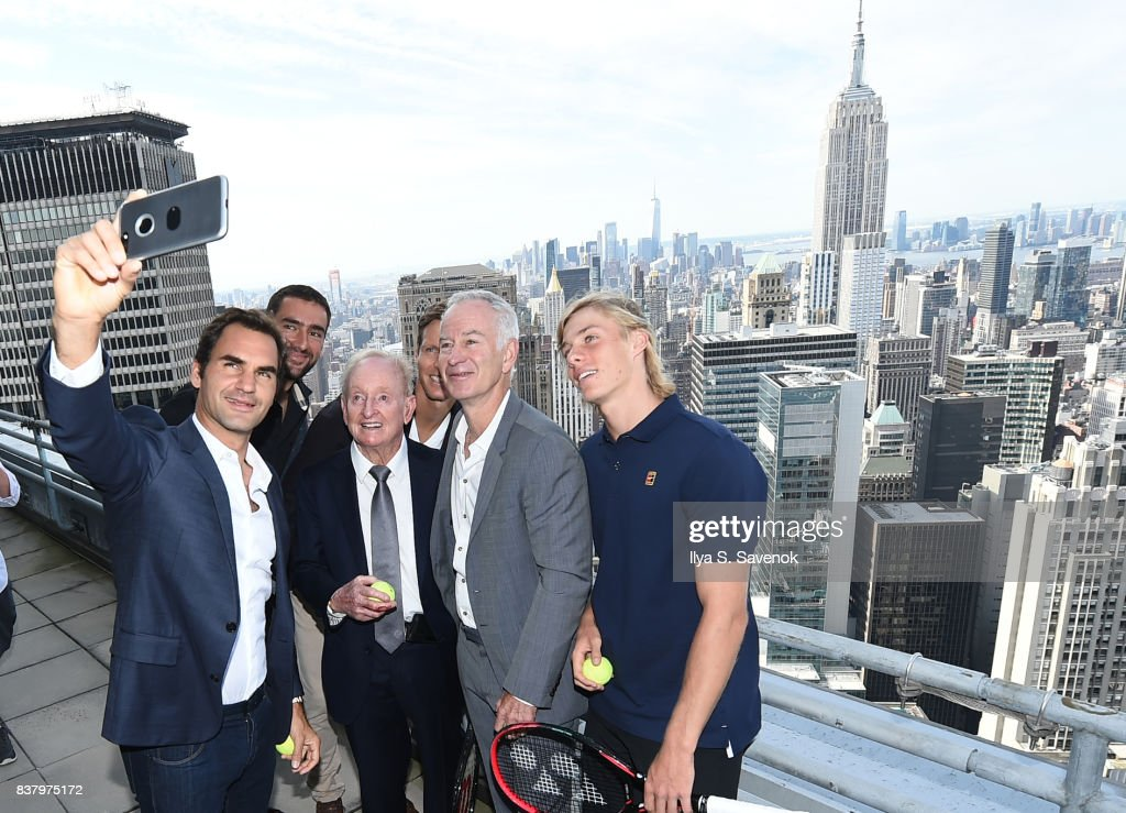 Roger Federer, Marin Cilic, Rod Laver, Tomas Berdych, John McEnroe and Denis Shapovalov take a selfie during Laver Cup Team Announcement on August 23, 2017 in New York City.
