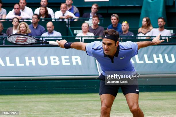 Roger Federer of Suiss during the men's singles match against Alexander Zverev of Germany on Day 9 of the Gerry Weber Open 2017 at Gerry Weber...
