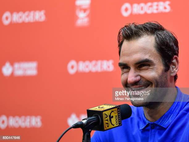 Roger Federer of Switzerland addresses the media after defeating Roberto Bautista Agut of Spain 64 64 during day eight of the Rogers Cup presented by...