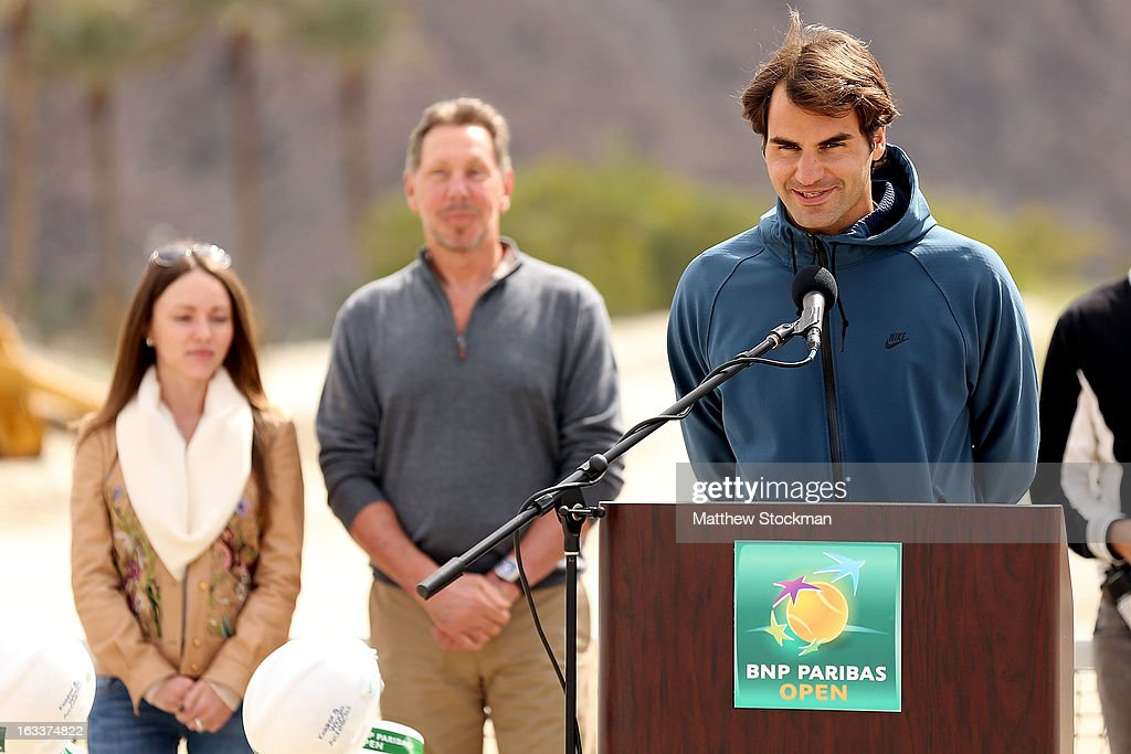 Roger Federer of Switzerland addresses the media and dignitaries in attendence at the ground breaking ceremony for the Indian Wells Tennis Garden expansion during the BNP Paribas Open at the Indian Wells Tennis Garden on March 8, 2013 in Indian Wells, California.