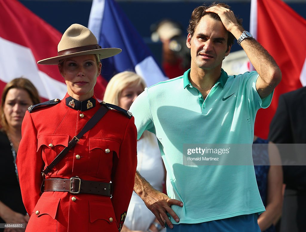 <a gi-track='captionPersonalityLinkClicked' href=/galleries/search?phrase=Roger+Federer&family=editorial&specificpeople=157480 ng-click='$event.stopPropagation()'>Roger Federer</a> of Switzerland after his loss to Jo-Wilfried Tsonga of France in the finals match during Rogers Cup at Rexall Centre at York University on August 10, 2014 in Toronto, Canada.