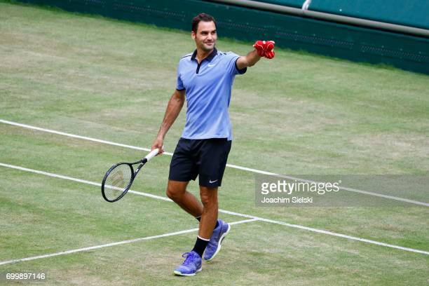 Roger Federer of Switzerland after the men's singles match against Mischa Zverev of Germany on Day 6 of the Gerry Weber Open 2017 at Gerry Weber...