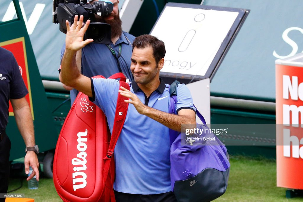 Roger Federer of Switzerland after the men's singles match against Mischa Zverev of Germany on Day 6 of the Gerry Weber Open 2017 at Gerry Weber Stadion on June 22, 2017 in Halle, Germany.