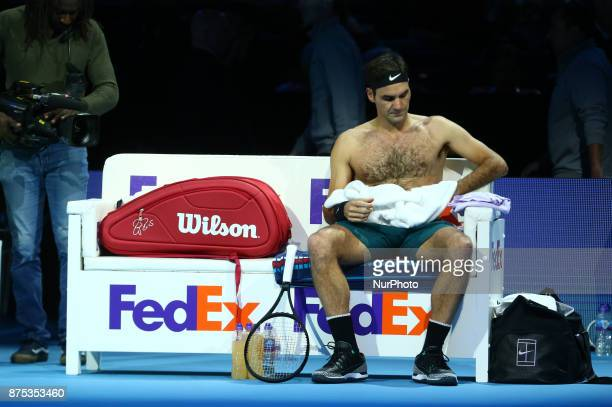 Roger Federer of Switzerland against Marin Cilic of Croatia during Day five of the Nitto ATP World Tour Finals played at The O2 Arena London on...