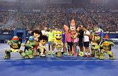 Roger Federer of Switzerland Ana Ivanovic of Serbia Victoria Azarenka of Belarus Eugenie Bouchard of Canada Nick Kyrgios of Australia and Thanasis...