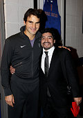Roger Federer of Switzerland and Former Argentinian footballer Diego Maradona attend the ATP World Tour Finals at O2 Arena on November 23 2010 in...