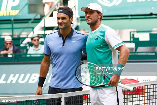 Roger Federer of Switzerland and Mischa Zverev of Germany before the men's singles match on Day 6 of the Gerry Weber Open 2017 at Gerry Weber Stadion...