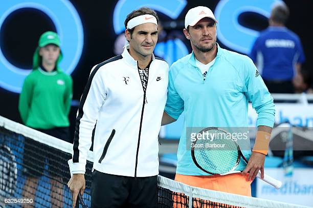 Roger Federer of Switzerland and Mischa Zverev of Germany pose for a photo before their quarterfinal match on day nine of the 2017 Australian Open at...