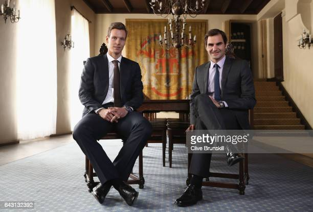 Roger Federer of Switzerland and Tomas Berdych of Czech Republic pose for a photo at the Old Town Rathaus during the countdown to the inaugural Laver...