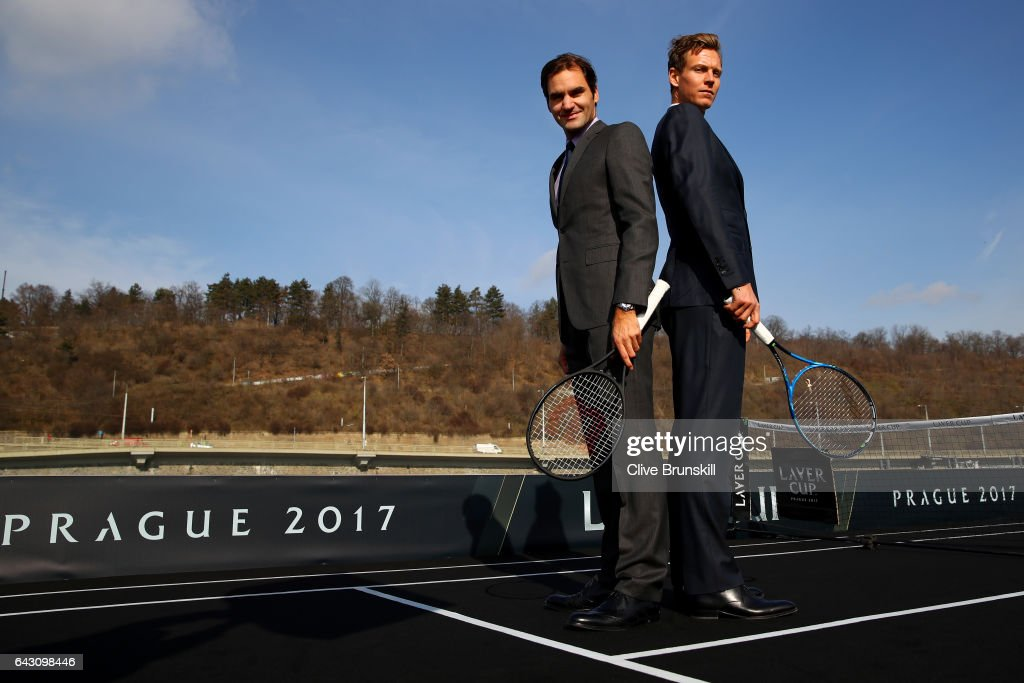 Roger Federer of Switzerland and Tomas Berdych of The Czech Republic pose during the countdown to the inaugural Laver Cup on February 20, 2017 in Prague, Czech Republic.
