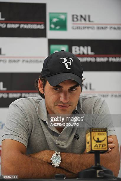 Roger Federer of Switzerland answers to journalists' questions during a press conference before the opening of ATP Tennis Open match in Rome on April...