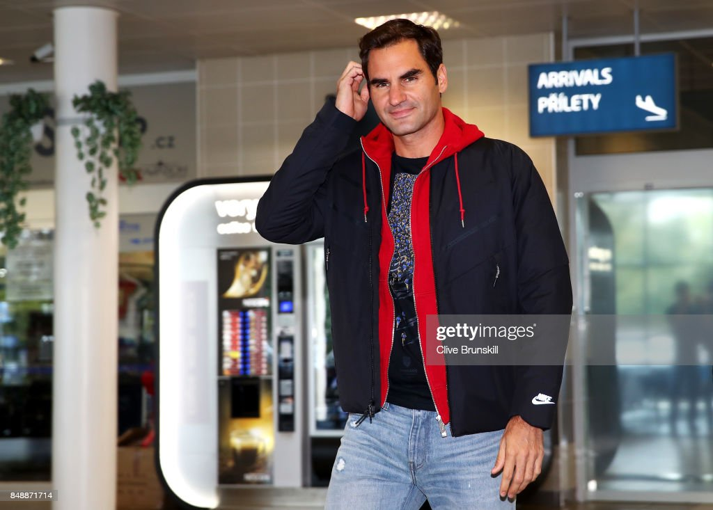 Roger Federer of Switzerland arrives at Vaclav Havel Airport Prague ahead of the Laver Cup on September 18, 2017 in Prague, Czech Republic. The Laver Cup consists of six European players competiting against their counterparts from the rest of the World. Europe will be captained by Bjorn Borg and John McEnroe will captain of the Rest of the World.